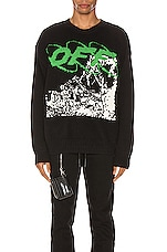 OFF-WHITE Ruined Factory Knit Crewneck in Black & White