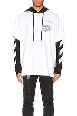 OFF-WHITE Golden Ratio Double Tee Hoodie in White Multi