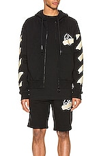 OFF-WHITE Tape Arrows Slim Zip Hoodie in Black & Beige