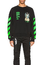 OFF-WHITE Pascal Painting Over Crewneck in Black & Multi