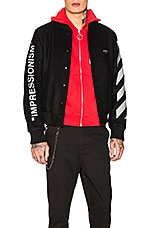 OFF-WHITE Diagonal Green Man Varsity Jacket in Black & Green