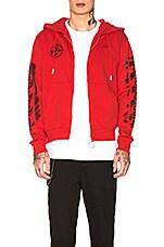 OFF-WHITE Diagonal Stencil Zip Hoodie in Red & Black