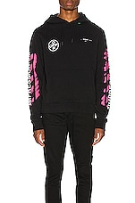OFF-WHITE Diagonal Stencil Hoodie in Black & Fuchsia
