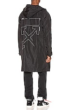 OFF-WHITE Unfinished Raincoat in Black & Silver