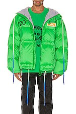 OFF-WHITE Zipped Puffer in Green & Black