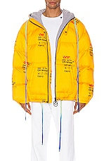 OFF-WHITE Industrial Zipped Puffer in Yellow
