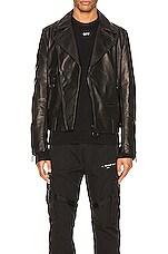 OFF-WHITE Leather Biker Jacket in Black
