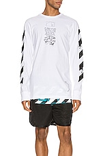 OFF-WHITE Dripping Arrows Long Sleeve Tee in White & Black