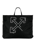 OFF-WHITE Unfinished Tote Bag in Black & Silver