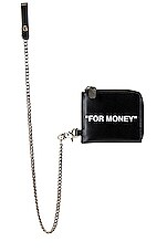 OFF-WHITE Quote Chain Wallet in Black & White