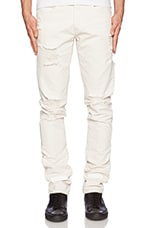 Striped Bull Denim Jean in Off White