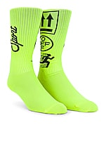 OFF-WHITE Long Sport Sock in Fluorescent Yellow Black