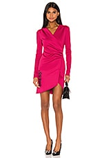 OFF-WHITE Side Opening Mini Dress in Fuchsia & Black