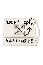 OFF-WHITE Jitney 0.7 Cash Inside Bag in Off White & Black