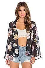 OH MY LOVE She Loves Floral Kimono in Black Floral