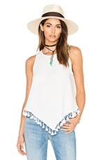 OH MY LOVE Sleeveless Tassel Top in White