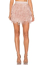 ST by OLCAY GULSEN Mini Feather Skirt in Liver