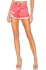 One Teaspoon High Waist Bandits Short in Organic Red