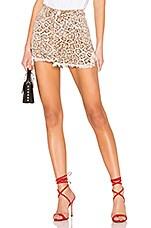One Teaspoon Vanguard Mid Rise Denim Skirt in Leopard