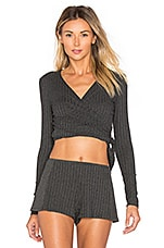 Wide Wale Rib Wrap Top in Charcoal