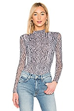 Only Hearts Python Tulle Mock Neck Bodysuit in Barely Pink