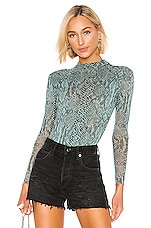 Only Hearts Python Tulle Mock Neck Bodysuit in Jade