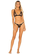 Only Hearts Lace Up Bra & G String Set in Black