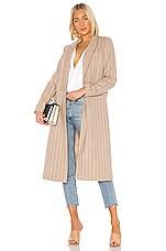 ON PARLE DE VOUS Kraft Wool Coat in Beige Raye