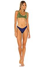 Oseree Colore Bra Bikini Set in Green & Blue