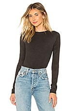 OW Intimates Camila Faux Suede Bodysuit in Black