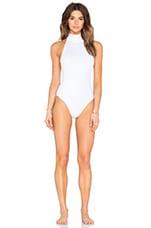 OYE Swimwear High Neck Maillot One Piece in White