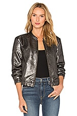 Rosie HW x PAIGE Kimi Bomber Jacket in Gray Metallic