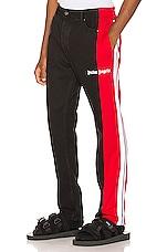 Palm Angels 3/4 Track Denim Pants in Black & Red