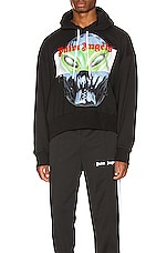 Palm Angels Alien Cropped Hoodie in Black