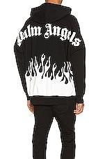 Palm Angels Burning Logo Hoodie in Black & White