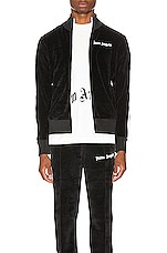 Palm Angels Chenille Track Jacket in Black & White