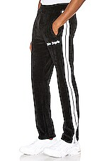 Palm Angels Chenille Track Pants in Black & White