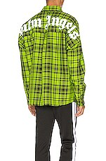 Palm Angels Logo Overshirt in Green & White