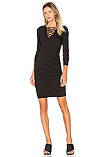 Lace Up Ruched Dress en Noir