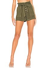 Pam & Gela Pleat Front Shorts in Army