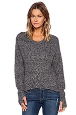 Crop Hi-Lo Sweater in Black Melange