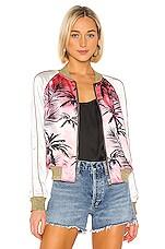 Pam & Gela Colorblock Satin Jacket in Pink Sunset in Pink Sunset