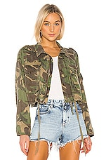 Pam & Gela Crop Cargo Jacket in Army Camo