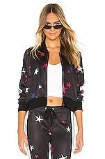 Pam & Gela Star Crop Track Jacket in Black