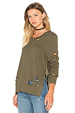Destroyed Side Slit Sweatshirt en Olive