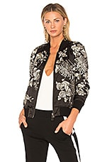 Silky Embroidered Bomber in Black