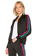Pam & Gela Track Jacket With Rainbow Stripes in Black