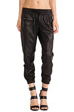 Perforated Leather Trackpant in Black