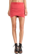 Ruched Mini Skirt in Red