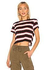 Pam & Gela Stripe Crop Tee With Torque Seam in Black, Pink & Cream Stripe